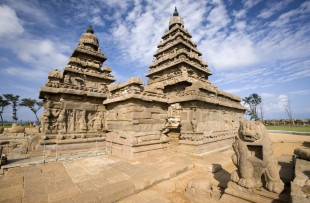 Monolithic temples of the Shore Temple near Mahabalipuram in the Tamil Nadu region of southern India. copy