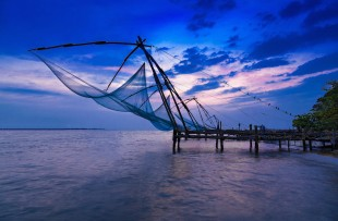 Traditional chinese fishing net at Fort Cochin, India copy