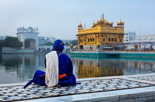 Unidentifiable Sikh Nihang warrior meditating at Seekh temple Golden Temple (Harmandir Sahib). Amritsar, India copy